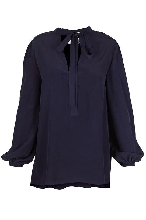 AWAVEAWAKE Indigo neck-tie blouse