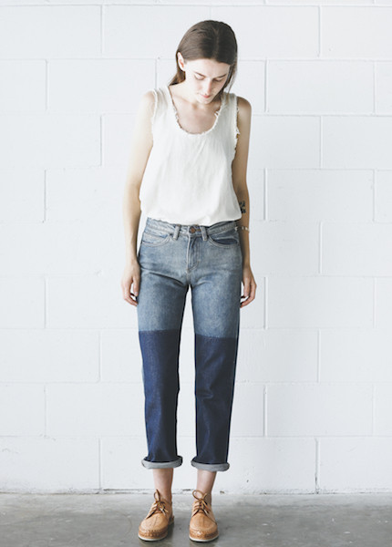 Objects Without Meaning  Straight Leg Patch Jean - Blue