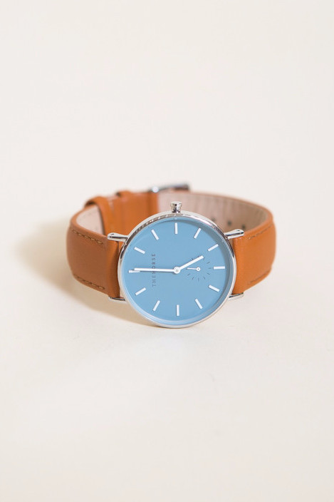 The Horse Classic Leather Watch / Polished Steel Case, Blue Dial, Tan Band