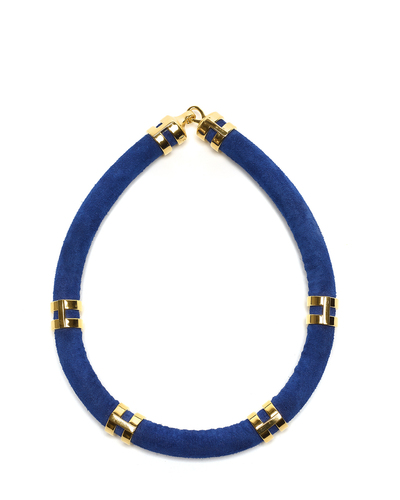 Lizzie Fortunato Double Take Necklace - Cobalt Suede