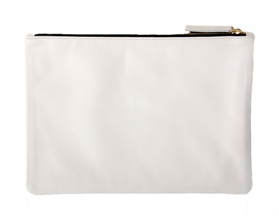 "Clare V.  Flat ""Oui"" Clutch - Cream Leather"