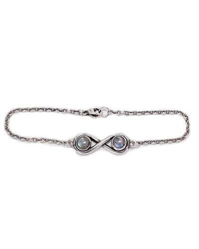 Pamela Love Silver Infinite Bracelet with Labradorite