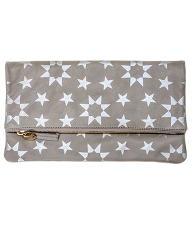 Clare Vivier Foldover Clutch - Gray Leather w/ Silver Moor Print