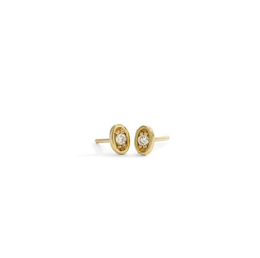 Blanca Monrós Gómez Tiny Diamond Oval Stud Earrings