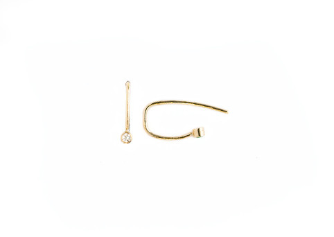 Grace Lee Diamond Bezel Hook Earrings