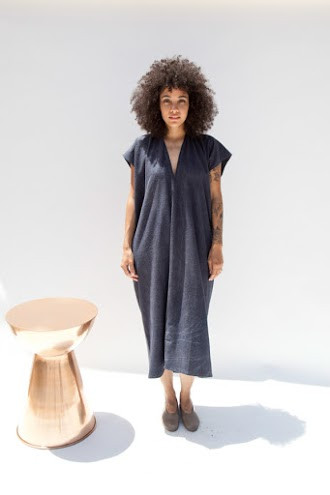 Miranda Bennett Everyday Dress, Oversized, Silk Noil in Coal