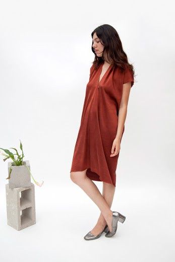 Miranda Bennett Everyday Dress, Silk Charmeuse in Claret