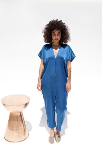 Miranda Bennett Everyday Jumpsuit, Silk Charmeuse in Indigo