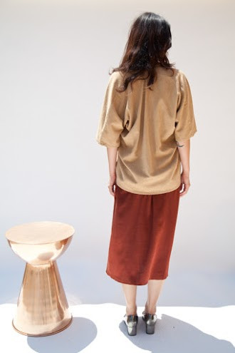 Miranda Bennett Muse Top, Silk Noil in Camel