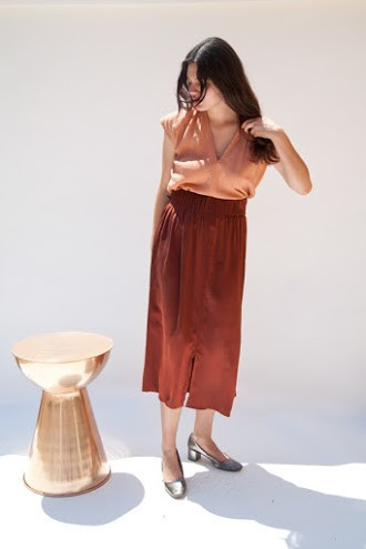 Miranda Bennett Paper Bag Skirt, Silk Charmeuse in Claret