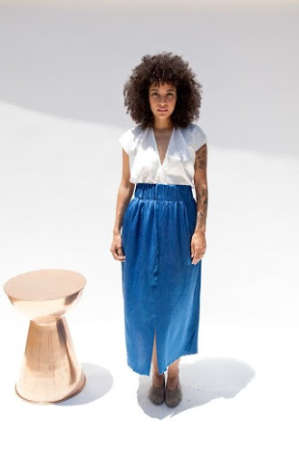 Miranda Bennett Paper Bag Skirt, Silk Charmeuse in Indigo