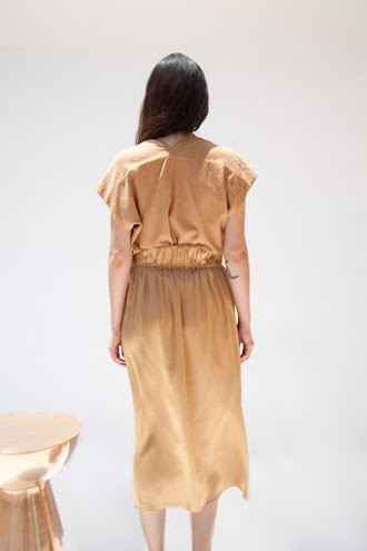 Miranda Bennett Paper Bag Skirt, Silk Charmeuse in Sand