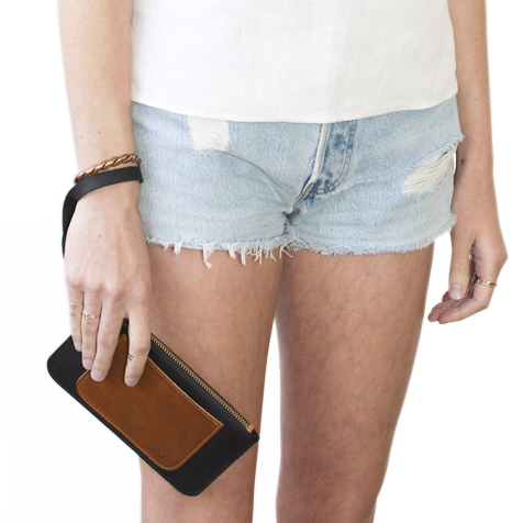Unknown All-in-One Pouch/Wallet <br>Oiled Leather Black/Brown<br>