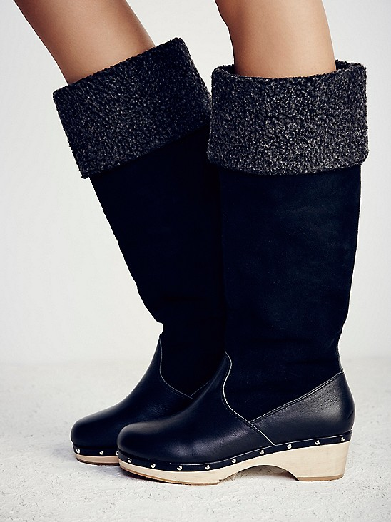 Intentionally Blank TALL clog boot in black leather and suede