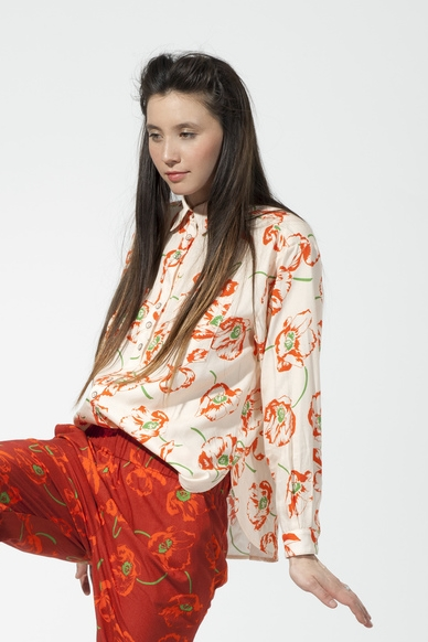 Carleen Poppy Print Big Shirt