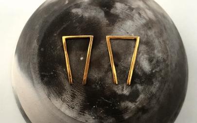 MDG Gold Broken Triangle Earrings