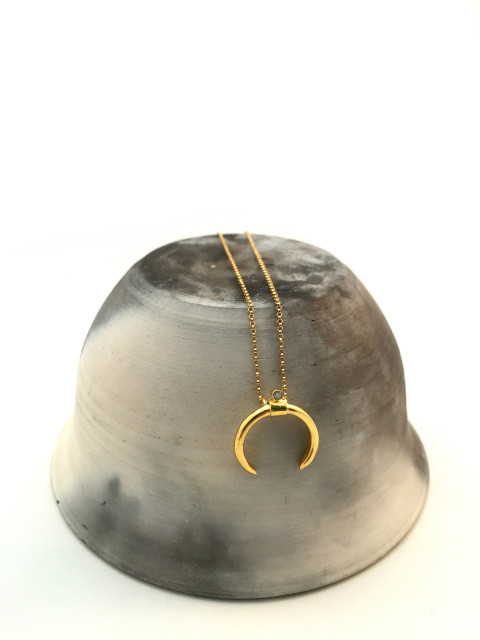 MDG Gold Horn Crystal Necklace