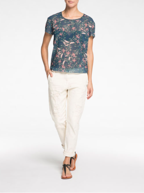 Sheer Floral Splatter Tee