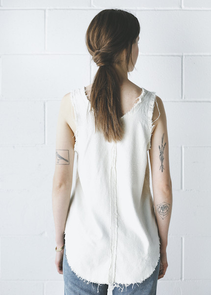 Black Crane Center Seam Tank in Cream