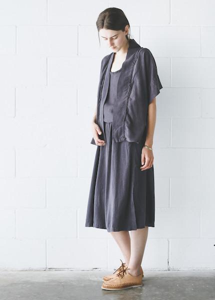 Black Crane Kimono Jacket in Midnight