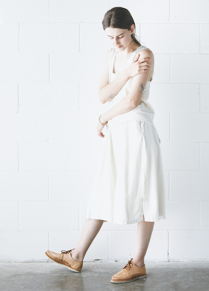 Black Crane Slit Wide Culotte in Cream