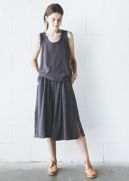 Black Crane Slit Wide Culotte in Midnight