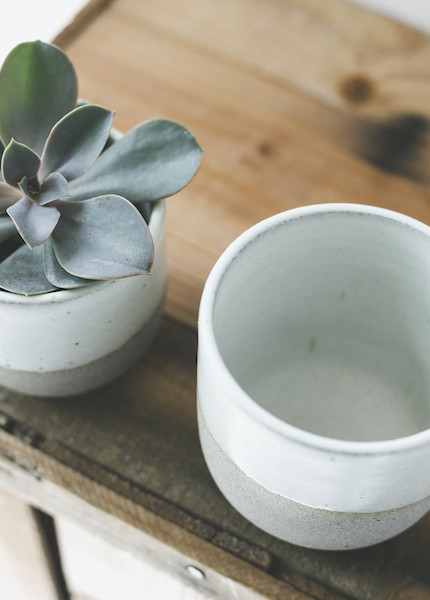 Humble Ceramics - Alder Tumbler in Greystone and Snow White ( 6 oz or 10 oz )