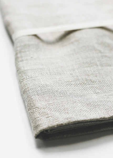 Le Fil Rouge - Bath Sheet in Natural Herringbone Weave
