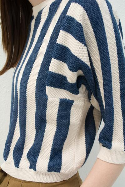 Micaela Greg Reverse Stripe Sweater - Navy