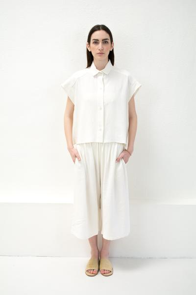 Micaela Greg Pieced Sleeve Button Up - White