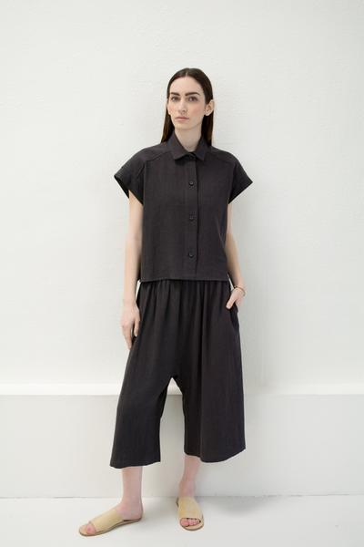 Micaela Greg Pieced Sleeve Button Up - Black
