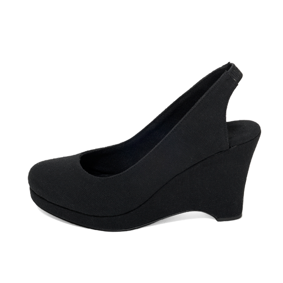 Wedge Slingback in Black