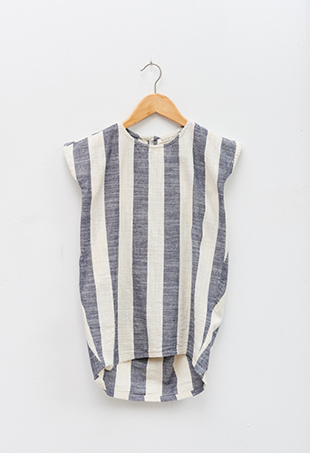 Black Crane Kids Cocoon Dress - Fat Stripe