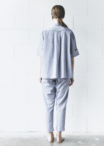 The Sleep Shirt - Tapered Pant in Linen Chambray