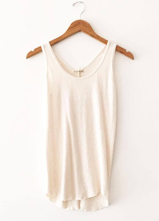 Black Crane Tank Top - Cream