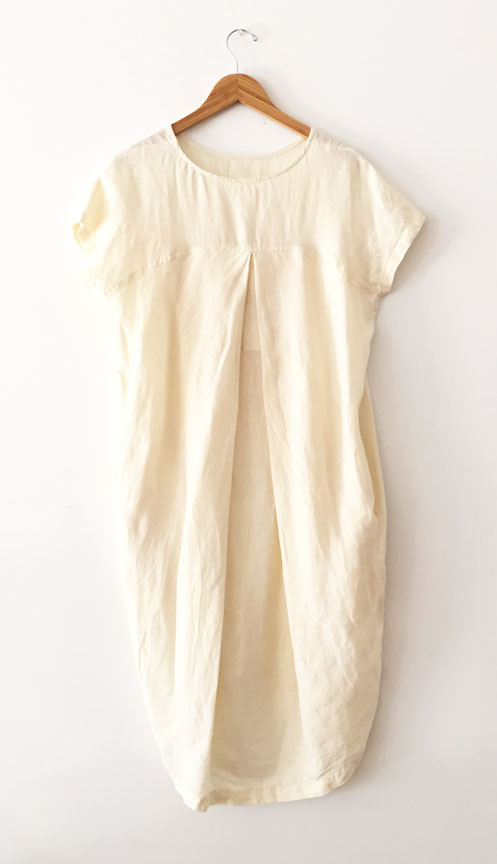 Black Crane Pleated Cocoon Dress - Cream