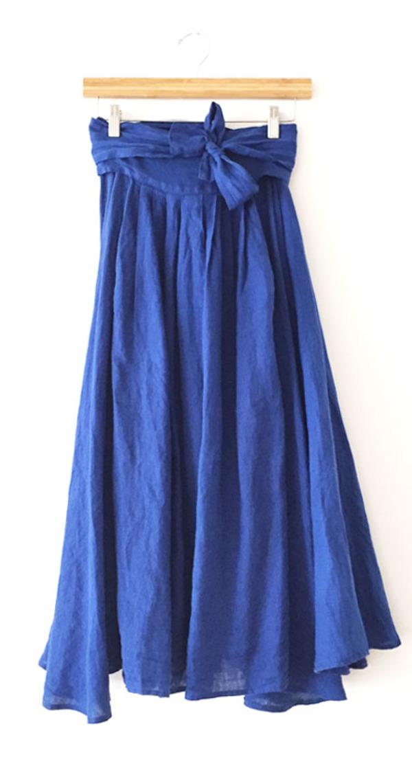 black crane wrap skirt royal blue from folk garmentory