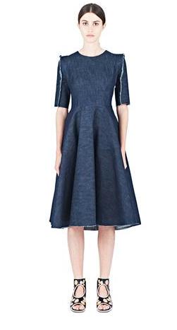 Alexa Stark Full Skirt Denim Short Sleeve Dress