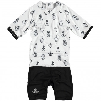 "Beach & Bandits ""Sink Or Swim"" One Piece Black & White Swimwear"