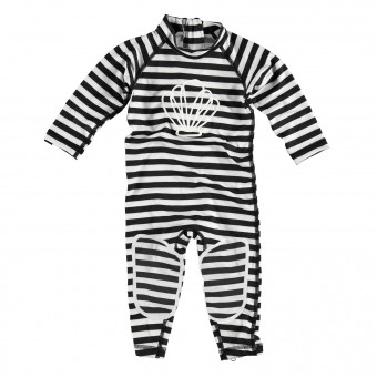 "Beach & Bandits ""Small Bandit"" Baby One Piece Black & White Swimwear"