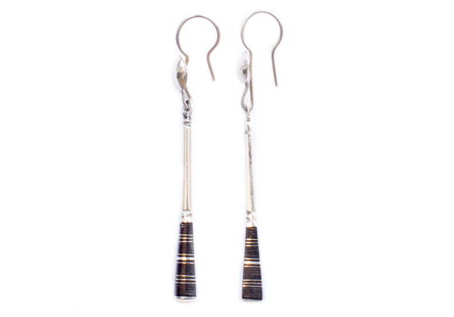 TUAREG SQUARED NOTCHED EBONWOOD LONG SILVER DRIP EARRING