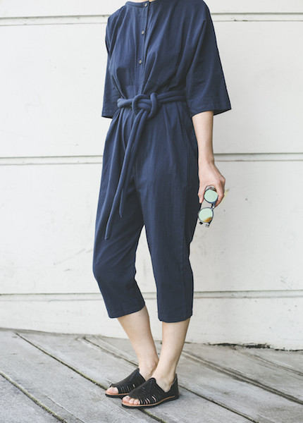 Uzi -  Piped Jumpsuit in Navy