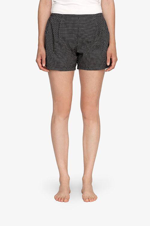 The Sleep Shirt Pleat Short Black Polka Dot