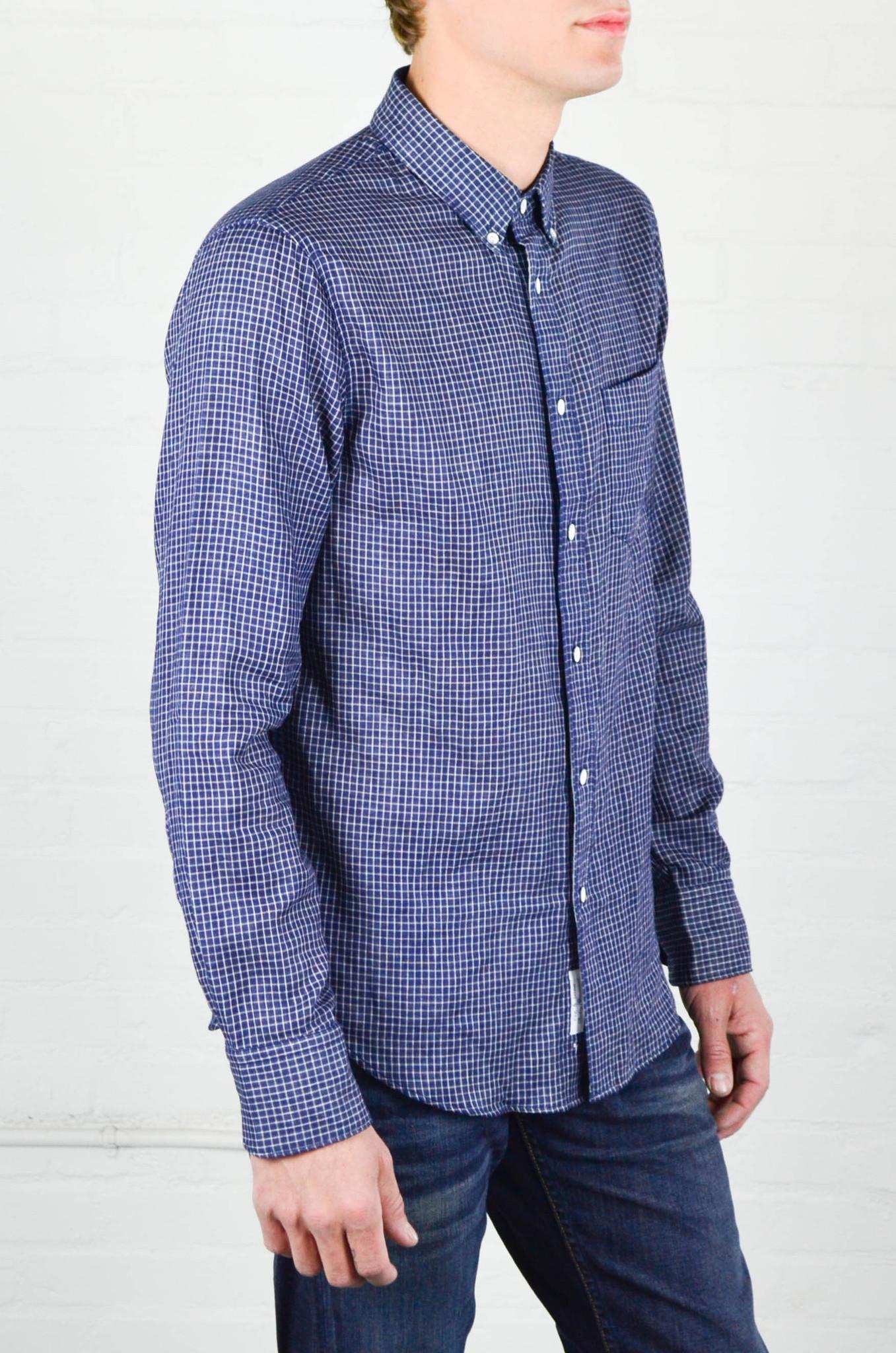 Men 39 s rag and bone indigo check yokohama shirt from hub for Rag and bone mens shirts sale