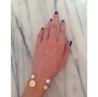 Letters By Zoe - Gold Double Pearl Cuff Bangle Bracelet
