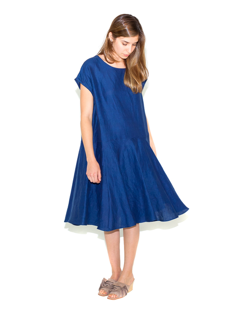 Creatures of Comfort Malick Dress in Indigo Linen