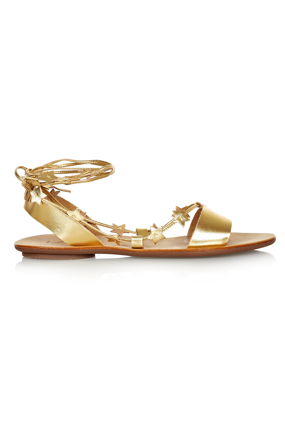 Loeffler Randall Starla Gold Leather Ankle Wrap Flat