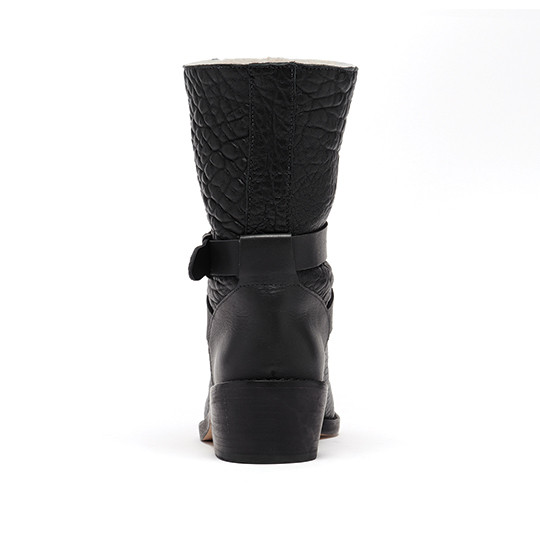 Loeffler Randall - Vesper Black Leather Shearling-Lined Biker Boot