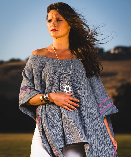 Stick & Ball Herringbone Poncho