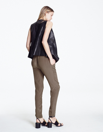 KAHLO BLACK LIZARD/CROC EMBOSSED LEATHER ZIP VEST